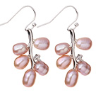 Fashion 5-6mm Natural Purple Freshwater Pearl Branch Drop Earrings With Fish Hook