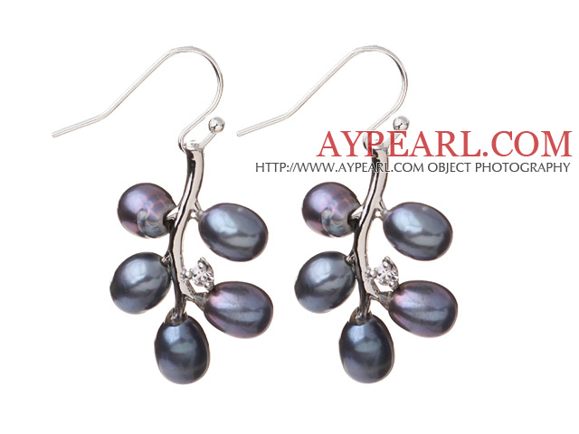 Fashion 5-6mm Natural Black Freshwater Pearl Branch Drop Earrings With Fish Hook