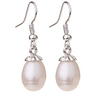 Lovely Natural 10-11mm White Freshwater Pearl And Silver Color Charm Drop Earrings With Fish Hook