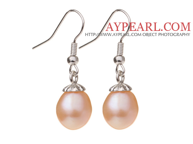 Lovely Natural 10-11mm Pink Freshwater Pearl And Silver Color Charm Drop Earrings With Fish Hook