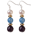 Lovely Round Natural White Freshwater Pearl And Round Blue Purple Dangle Earrings