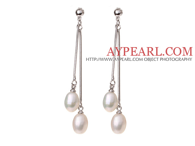 Lovely 8-9mm Natural Oval Shape White Freshwater Pearl Dangle Studs Earrings