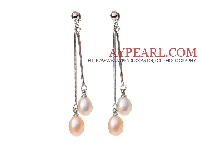 Lovely 8-9mm Natural Oval Shape White And Pink Freshwater Pearl Dangle Studs Earrings