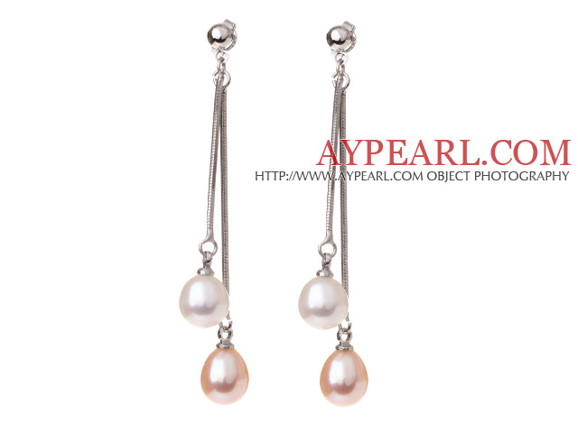 Lovely 8-9mm Natural Drop Shape White And Pink Freshwater Pearl Dangle Studs Earrings