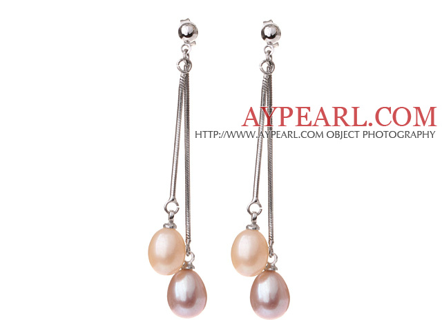 Lovely 8-9mm Natural Drop Shape Pink And Purple Freshwater Pearl Dangle Studs Earrings