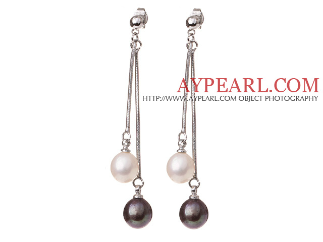Lovely 8-9mm Natural Drop Shape White And Black Freshwater Pearl Dangle Studs Earrings