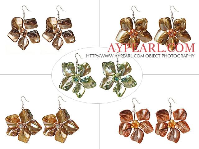 2014 Newly Summer Design Lovely 5 Pairs Pearl Shell Flower Dangle Earrings