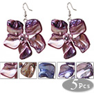 Wholesale 2014 Newly Summer Design Cute 5 Pairs Pearl Shell Flower Dangle Earrings
