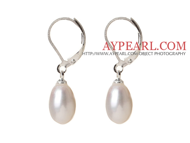 Elegant Natural Drop Shape White Freshwater Pearl Earrings with Lever Back Hook