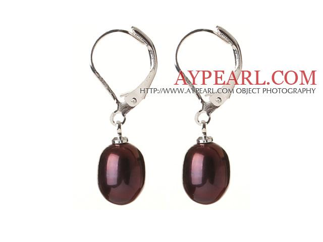 Elegant Natural Drop Shape Dark Purple Freshwater Pearl Earrings with Lever Back Hook