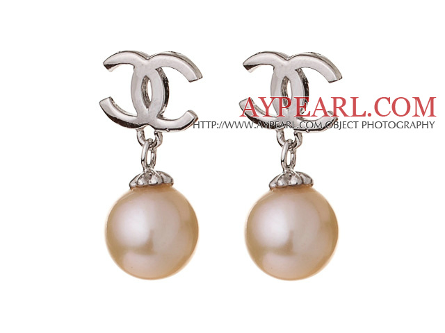 Elegant Style AAA Grade Natural Pink Freshwater Pearl 925 Sterling Silver Studs Earrings
