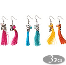3 Pairs Lovely Style Round Jade Bead Dangle Earrings with Tassel and Cute Accessory