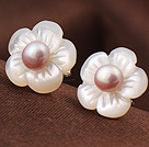 Cute Plum Flower Shape Shell and Pik Pearl 925 Sterling Silver Studs Earrings