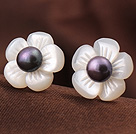 Cute Plum Flower Shape Shell and Black Pearl 925 Sterling Silver Studs Earrings