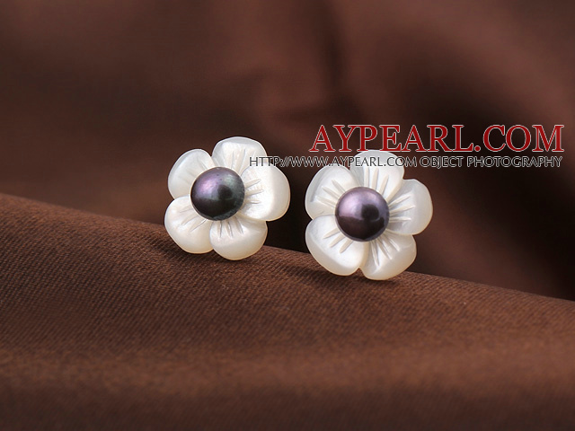 Cute Plum Flower Shape Shell and Black Pearl 925 Sterling Silver Studs Earrings