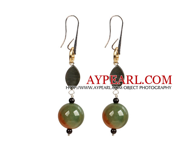 Chic Long Style Eye Shape Black Lip Shell Peacock Agate Garnet Beads Dangle Earrings