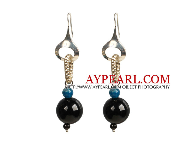 Trendy Style Blue & Black Agate Beads Dangle Earrings with Golden Loop Charm