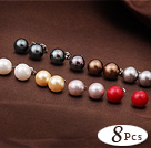 8 Pairs Charming Round Multi Color Seashell Beads Studs Earrings