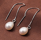 New Arrival Long Style Drop Shale White Pearl 925 Sterling Silver Ear Line Jewelry