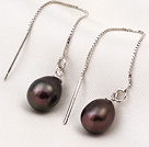 New Arrival Long Style Drop Shape Brown Pearl 925 Sterling Silver Ear Line Jewelry