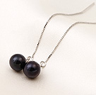 New Arrival Long Style AAA Grade Black Pearl 925 Sterling Silver Ear Line Jewelry