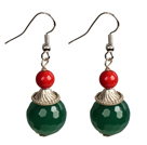 Simple Design Red Coral Green Agate Beads Dangle Earrings