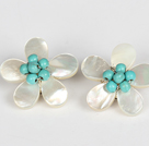 Wholesale Elegant Style Turquoise and White Shell Flower Clip Earrings
