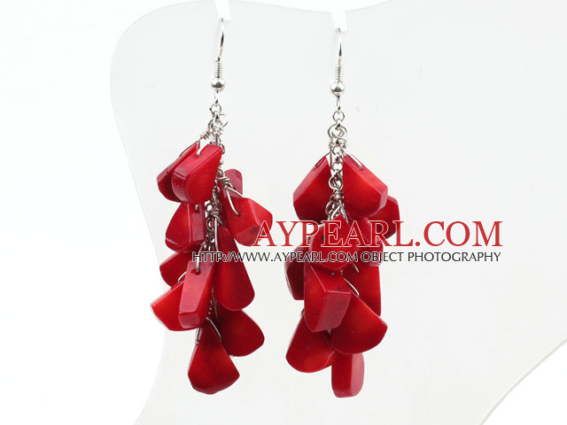 Cluster Style Drop Shape Red Coral Earrings