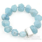 Natural Incidence Angle Aquamarine Stretch Bracelet with Thailand Sterling Silver Accessory