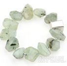 Natural Incidence Angle Prehnite Stretch Bracelet with Thailand Sterling Silver Accessory