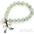 Prehnite Stretch Bracelet with Thailand Silver Lotus Accessory and Matched Metal Earrings