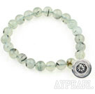 8mm Natural Prehnite Stretch Bracelet with Thailand Silver Lotus Accessory