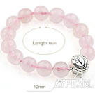 12mm Faceted Rose Quartz Stretch Bracelet with 925 Sterling Silver Pixiu Accessory