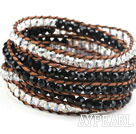 Long Style 4mm Black and Clear Crystal Wrap Bangle Bracelet with Brown Thread and Shell Clasp