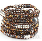 Long Style 4mm Golden Crystal Wrap Bangle Bracelet with Brown Thread and Shell Clasp