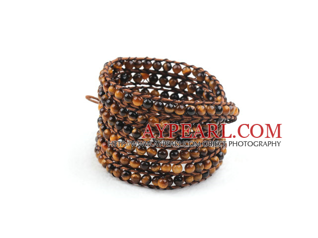 Long Style 4mm Tiger Eye Wrap Bangle Bracelet with Brown Thread and Shell Clasp