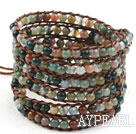 Long Style 4mm Indian Agate Wrap Bangle Bracelet with Brown Thread and Shell Clasp