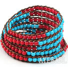 Wholesale Long Style 4mm Round Coral and Turquoise Wrap Bangle Bracelet with Brown Thread and Shell Clasp