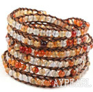 Long Style 4mm Natural Color Agate Wrap Bangle Bracelet with Brown Thread and Shell Clasp