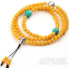 Imitation Amber Prayer Bracelet with Faceted Turquoise and Sterling Silver Accessory ( Rosary Bracelet can also be necklace)