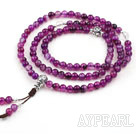 Natural Purple Agate Prayer/ Rosary Bracelet with Sterling Silver Accessory ( can also be necklace )