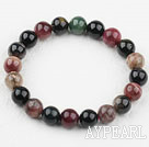 8-8.5mm Dark Color Round Tourmaline Beaded Elastic Bangle Bracelet