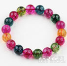 12mm Round Multi Color Natural Tourmaline Crystal Beaded Bangle Bracelet