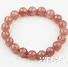 Wholesale 10mm Round Pink Strawberry Quartz Beaded Elastic Bangle Bracelet