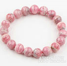 Runde 8mm Rhodochrosite Beaded Elastic Bangle Bracelet