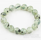Wholesale 12mm Natural Faceted Prehnite Beaded Elastic Bangle Bracelet