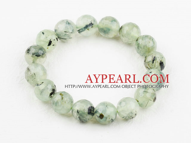 12mm Natural Faceted Prehnite Beaded Elastic Bangle Bracelet