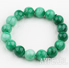Wholesale 12mm Round Natural Malaysia Jade Elastic Bangle Bracelet
