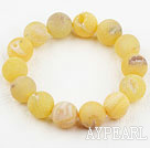 Wholesale 14mm Candy Color Crystallized Agate Beaded Elastic Bangle Bracelet