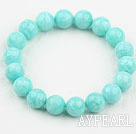Wholesale Light Green Color Amazonite Beaded Elastic Bangle Bracelet